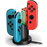 Switch Joy Con Charger - Docking Station - Nintendo Switch - Oplaadstation 4 Joy-Con - ABS + Metaal - 10 cm x 10 cm x 15 cm -