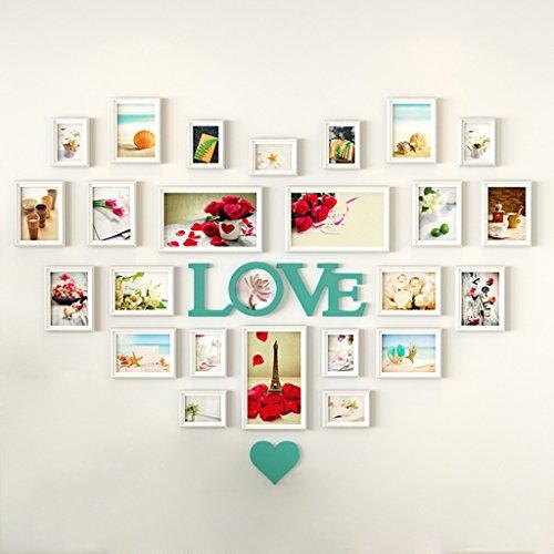 Xia Xia Wohnzimmer herzförmige Fotowand europäischen Stil kreative Liebe Herz Schlafzimmer Bilderrahmen Wandbehang Wandrahmen Wand Kombination Stück hängen