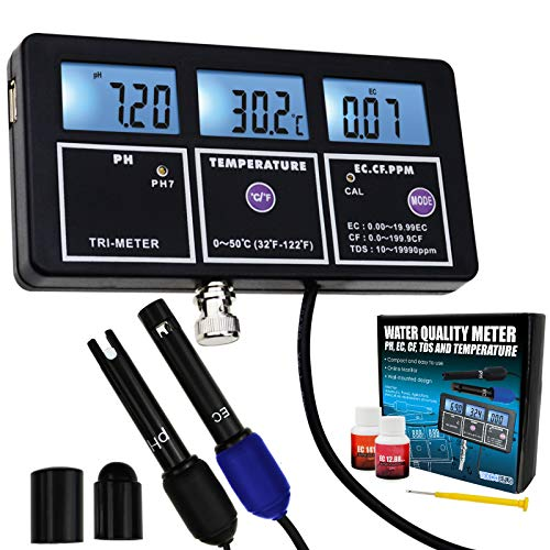 5-in-1 PH EC CF TDS Temperatur Wasserqualität Wiederaufladbare Multi-Parameter-Wandhalterung Test Meter mit Kontinuierlichen Monitor Tester für Aquarien Hydrokultur Pool Trinkwasser Labor -