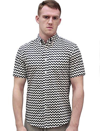 Allegra K Herren Zickzack Druck Kurze Ärmel Knopf Unten Shirt Passform L (EU 54)