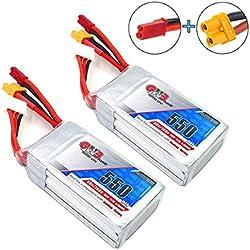 GNB 2 Piezas 550mAh LiPo batería 3S 80C 11.1V XT30 JST Conector para FPV Racing Drone