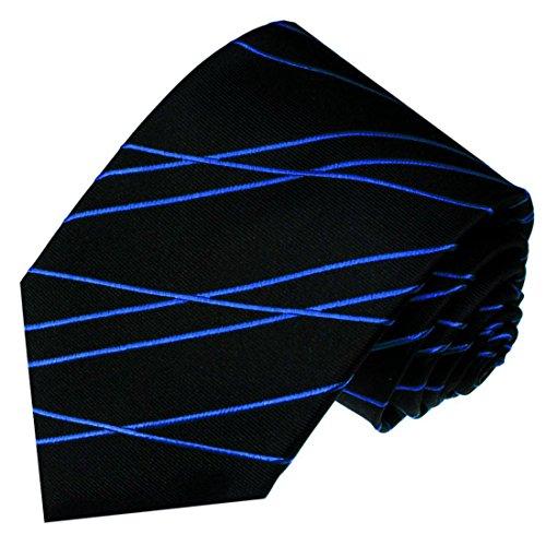 LORENZO CANA - Hochwertige Designer Krawatte aus 100% Seide , Marken Schlips Schwarz Blau Linien - 84568