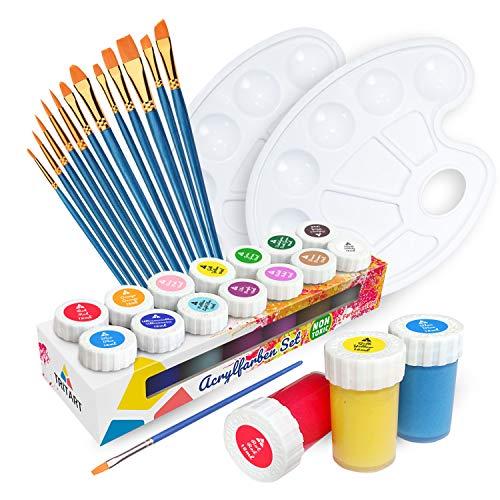 Tritart Acrylfarben Set für Kinder und Erwachsene mit 12 Pinsel und 2 Mischpaletten | 14er Acryl Farbset -