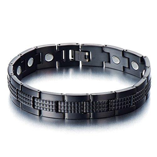 COOLSTEELANDBEYOND Schwarz Edelstahlarmband für Herren Starken Magnete Hochglanz Poliert 21.4cm,Link-Tool zum Entfernen Enthalten -