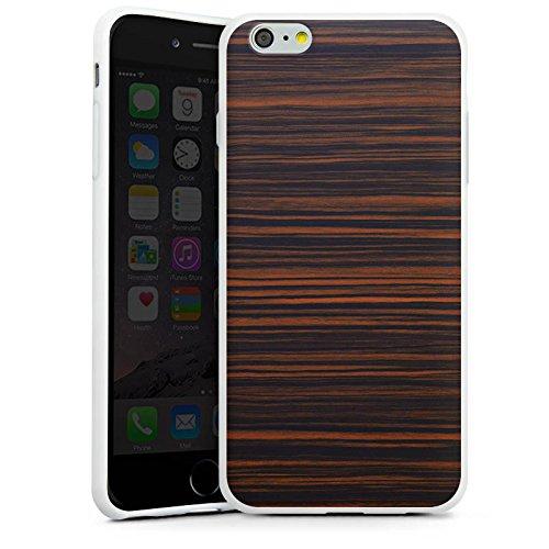 Apple iPhone X Silikon Hülle Case Schutzhülle Makassar Holz Look Silikon Case weiß