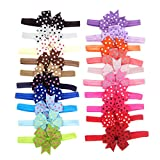 #1: BESTVECH Soft Comfortable Elastic Baby Girls Dot Printed Bowknot Headband - Pack of 20