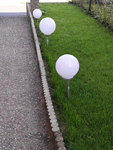 3 x LED Solarkugel Marla Solarleuchte Gartenleuchte mit Erdspieß, Durchmesser 15 + 20 + 25 cm Solarleuchte Kugelleuchte Dekolampe - 5