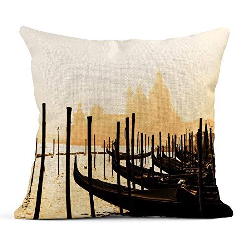 Dekokissen Romantische italienische Stadt von Venedig Venezia World Heritage Site Traditionelle venezianische Holzboote Gondoliere Leinen Kissen Home Dekorative Kissen