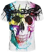 Ularma 2016 Mens Camisetas, impresión 3D del cráneo colorida, Moda blusa de manga corta