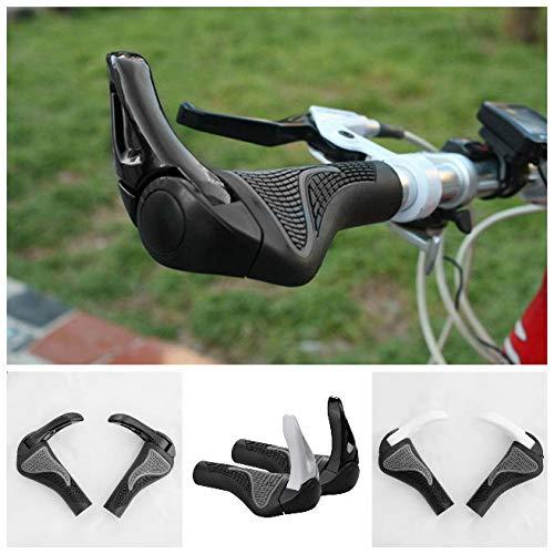 A pair Horn Fahrradgriffe, Ergonomische Lenkergriffe aus Rutschfestem Gummi, Schwarze Handgriffe mit Gel Dämpfung für Trekkingrad, MTB, E-Bike und Cityrad