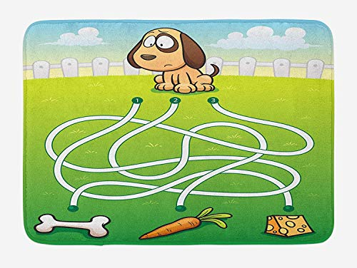 NasNew Kid's Activity Bath Mat, Cartoon Style Hungry Puppy Wants Bone Maze Game Design with Extra Pathways, Plush Bathroom Decor Mat with Non Slip Backing, 31.69 X 19.88 Inches, Multicolor -