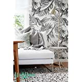 Colibri pájaros papel pintado-patrón extraíble Wallpaper-Papel pintado hojas de palma Areca-Palmera pared adhesivo-Colibri pájaros papel autoadhesivo, 53 Cm wide by 121 Cm Tall