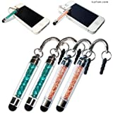 2XNo1accessory new Peacock blue + champagne crystal shaft stylus pen for Motorola Moto G Moto X &iPhone 5S/5C Apple iPad air