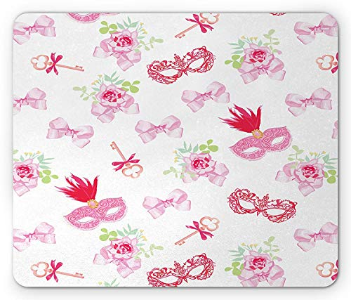 Masquerade Mouse Pad, Masks and Vintage Keys Floral Bouquets Bows Pattern in Party Themed Design, Standard Size Rectangle Non-Slip Rubber Mousepad, Pink and Green