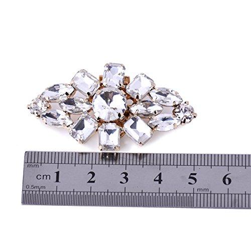 ElegantPark AL Damen Glanz Schuh Kleider Handtasche Clutch Fashion Strass Clips 2 Stück Gold