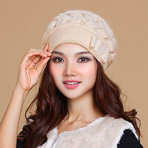 LIXUE Chapeau Dames Bonnet d'hiver Version coréenne de la marée Double Protection d'oreille tricoté Chaud Bonnet Chaud Bonnet élastique Doux (Color : Almond Beige)
