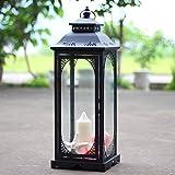 Ferro Retro Terra Appeso La lanterna Candelieri,Coperta All'aperto Luce del vento Lanterna Portacandele a colonna Domestico Decorazione Romantici Ornamento della casa Candelieri-A 18x51cm(7x20inch)