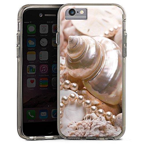 Apple iPhone X Bumper Hülle Bumper Case Glitzer Hülle Schneckenhaus Perlen Muscheln Bumper Case transparent grau