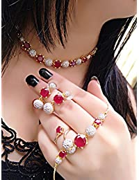 M Creation American Diamond Stylish Latest Design Ruby-Color Combo Of Necklace Set With Earring, Ring And Bracelet
