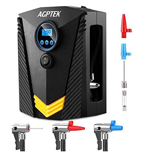 AGPTEK Compressore Aria Portatile Auto DC 12V / 150PSI,Pompa Elettrica con Display Digitale LED e 3 Adattatori Cavo 3M per Pneumatici, Bici / Auto (Nero)