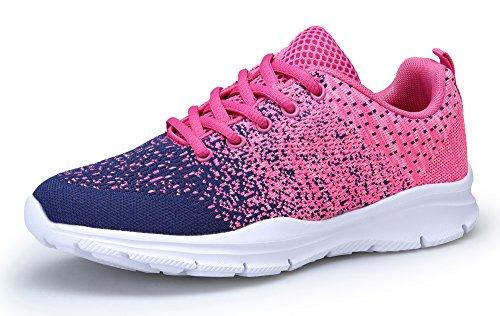 KOUDYEN Damen Laufschuhe Atmungsaktiv Turnschuhe Schnürer Sportschuhe Sneaker (EU37, Pink Blau)