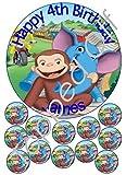 """Curious George - 1 x 7,5 """"& 1,5 x 12"""" rund Fondant essbaren Kuchendeckel und mit Ihrer individuellen Gruß gedruckt (Geburtstag-Pack)"""