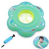 GEYUEYA Home Kleinkind Kinder Schwimmender Schwimmen Ring mit Pumpe Aufblasbarer Baby Schwimmring Baby Schwimmhilfe Schwimmsitz für 2-6 Jahre Altes Baby blau