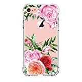 LUOLNH iPhone 5 case,iPhone 5s Se Case with flowers, Slim Shockproof Clear Floral Pattern Soft Flexible TPU Back Cover -China Rose