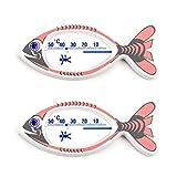 2 Stück Set Kinder Bad Thermometer . Badethermometer Fisch weiß bedruckt