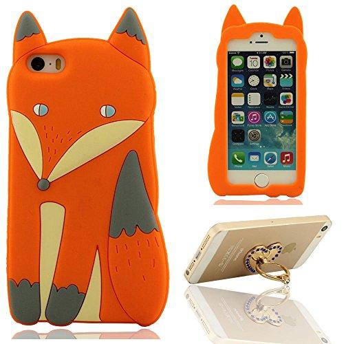 Schön Fuchs Gestalten Entwurf Serie Weich Prämie Silikon-Gel Case Cover Bumper Schutzhülle Hülle für iPhone 5 5S 5C 5G SE + Hübsch Metall Ring Halter Orange