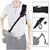 Topnovo Anti-Slip Quick Rapid Camera Shoulder Strap Sling with Zipper Pocket, 1/4'' Mount Screw and Safety Tether for Canon Sony Nikon DSLR SLR Camera - Black