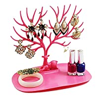 Decorative Jewelry Tray Tree Design Jewellery Organizer Storage Rack,Jewelry Holder Stand Display Organizer for Earrings/Necklaces/Bracelets/Jewelry Organizer Stand Christmas Birthday Gift(Pink)