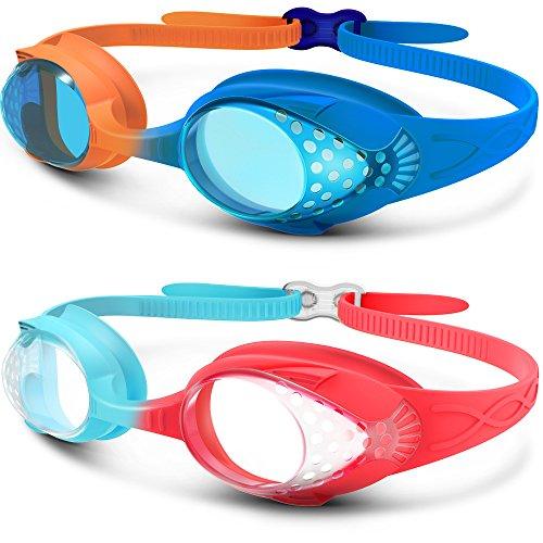 OutdoorMaster Kinder Schwimmbrille, lustige Fisch-Stil Schwimmbrille für Kinder (4-12 Jahre), lecksicher Schwimmbrille für Jungen Mädchen, Anti-Fog & UV Schutz & Schnell zu verstellen