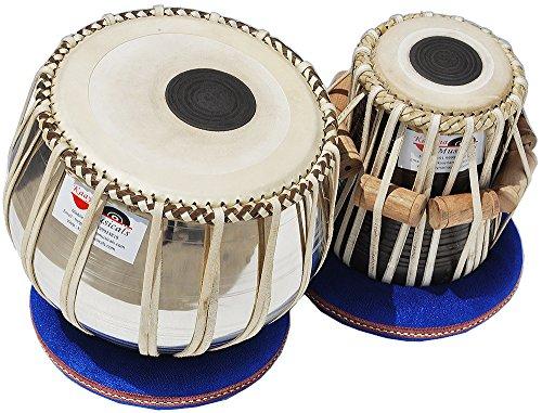 tabla Drums Set, Deluxe Stahl Bayan-2kg., chrom-Finish, Sheesham Holz Dayan, Hand Made Drum Träger aus Haut, zu stimmen, Tuning Hammer, & Pegs, Gigbag, Kissen & Bezug, Best für Schüler und - Trommel-musik Indische