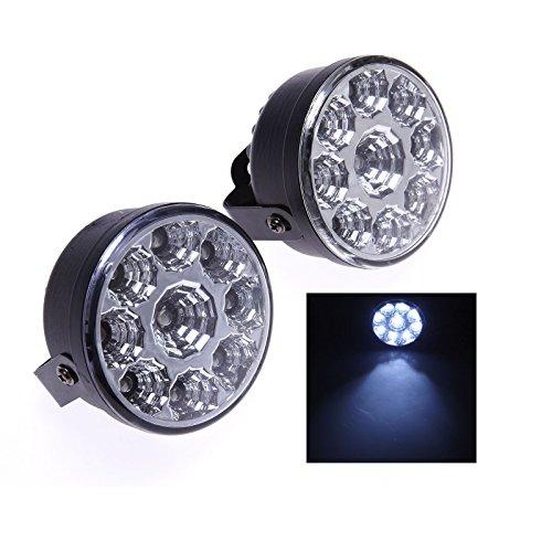 Preisvergleich Produktbild AR 2x Universal 9 LED Rund Ø70mm Tagfahrlicht Tagfahrleuchten TFL DRL Weiß 12V