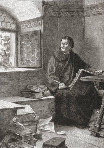 Posterlounge Holzbild 120 x 170 cm: Martin Luther übersetzt die Bibel auf der Wartburg von Ken Welsh/Design Pics