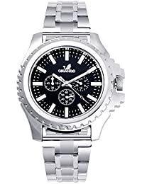 Orlando® Branded Japan Movement Chronograph Look With Black Dial & Silver Stainless Steel Belt Watches For Men - W1269S2B