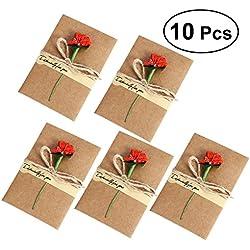 Paquete de 10Tarjetas de agradecimiento boda - color de la flor a elegir