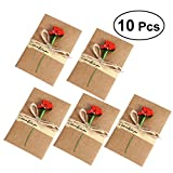 nuolux 10PCS Vintage Kraftpapier Papier Karten von V & # X153; UX mit der Blüten Getrocknete Handarbeit Dankeskarten für Mama Lehrer Freunde Familes Neujahr cartes-cadeaux Weihnachten (Pink) 7 x 10.5 cm 12