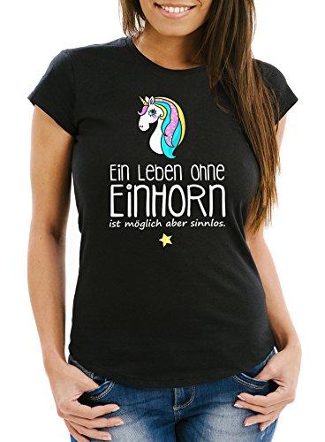 Damen-T-Shirt-Ein-Leben-ohne-Einhorn-ist-mglich-aber-sinnlos-Einhorn-Unicorn-Slim-Fit-Moonworks