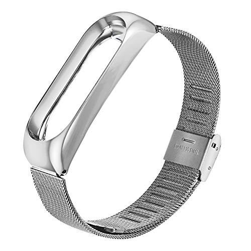 Dwcom YHmall Armband für Xiaomi Mi Band 3, Edelstahl Ersatzarmband Fitness Armbänder Uhrenarmband, Milanse Sportarmband (Silber/Schwarz/Roségold) -