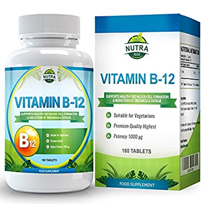 Vitamin B12, Methylcobalamin, 1000 ?g, High Strength Complex for B12 Deficiency, Vit B 12 Brain Supplement that Helps with Memory and Nerve Support - 180 Tablets from Nutra Rise