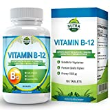 Vitamina B12, Metilcobalamina, complejo de alta concentración para la deficiencia de B12. Suplemento de Vitamina B12 para el cerebro que ayuda al sistema nervioso y a la memoria – 180 pastillas