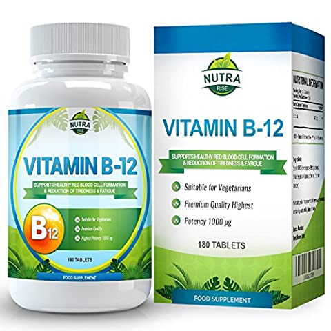 Vitamin B12, Methylcobalamin, 1000 μg, High Strength Complex for B12 Deficiency, Vit B 12 Brain Supplement that Helps with Memory and Nerve Support - 180 Tablets
