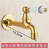 Hlluya Wasserhahn für Waschbecken Küche Gold Outdoor Faucet Düse in die Wand einzigen kalten Wasserhahn Garten Wasserhahn 12