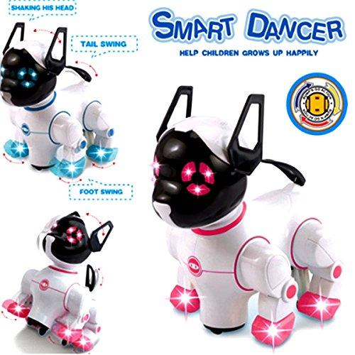 Designergearint® Robot Dog Cat Electronic Pet Adorable Smart Dancer Dog With Barking, Walking, Standing, Music Playing, Wagging Tail & Flashing Lights Toy for Kids, Boys & Girls