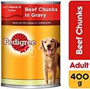 Pedigree Beef Chunks in Gravy, Wet Dog Food, Can, 24 x 400g