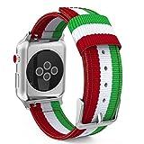 MoKo Armband für Apple Watch Series 4/3 / 2/1 42mm, Nylon Strick Replacement Uhrenarmband Sportarmband Band Ersatzband mit Schließe für Apple Watch Nike+ 42mm 2017, Grün/Rot/Weiß