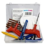 amiciAuto Complete Tubeless Tyre Puncture Repair Kit with Box (Nose Pliers + Cutter + Rubber Cement + Extra Strips)