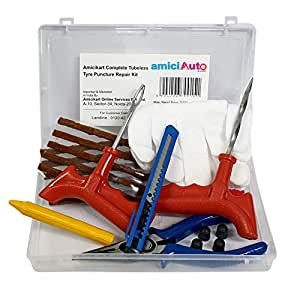 amiciAuto Complete Tubeless Tyre Puncture Repair Kit with Box (Nose Pliers + Cutter + Extra Strips)
